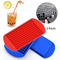 AUFELL (Set of 2) 160 Grids Ice Cubes Mold Square Shape Silicone Mini Ice Cubes Tray Kitchen Bar Pudding Mould Small Ice Cube Making Tool 4.3x6.7 inch