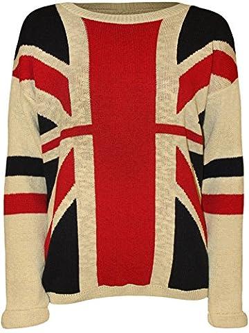 New Ladies Flag Print Winter Knit wear SweatShirt Jumper Tops