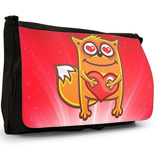 STAR STRUCK Love Animali Grande borsa a tracolla Messenger Tela Nera, scuola/Borsa Per Laptop Fox Holding Red Love Heart