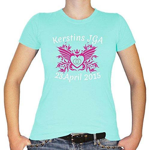 Shirtfun24 Damen JGA Junggesellinnenabschied Wappen Wunschname Datum Ring Herz T-Shirt, Mint (Grün), M