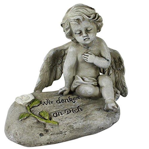 Grabschmuck Engel Wir vermissen dich Grabstein mit Gravur Gedenkstein für Grab Stein mit Spruch Trauerengel Grabdeko Engelfigur (Engel Figur Hund)