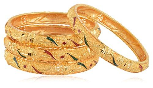 Royal Gold Plated Studded Bangle/Kadda/Kangan For Women & Girls Set Of 4