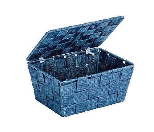 WENKO 22200100 Aufbewahrungskorb mit Deckel Adria Petrol - Badkorb,  Polypropylen,  19 x 10 x 14 cm