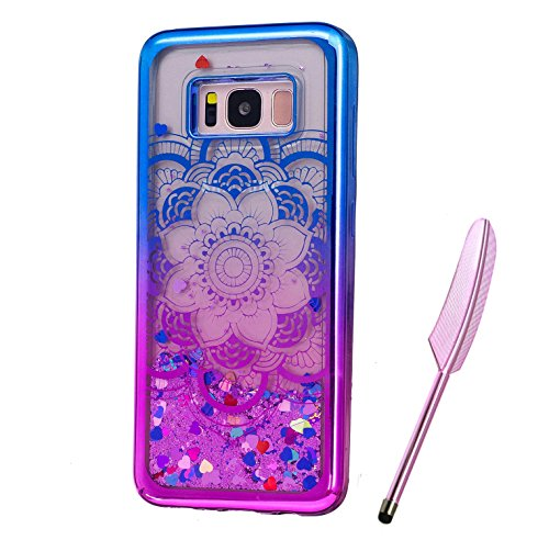 Galaxy S8 Plus Case, Blue Purple Plating Design, Edaroo 3d Cool Flowing Liquid Bling Sparkle Purple Glitter Style Beautiful Totem Mandala Floral Pattern Slim Thin Fits Soft Rubber TPU Bumper Protective Case Cover for Samsung Galaxy S8 Plus