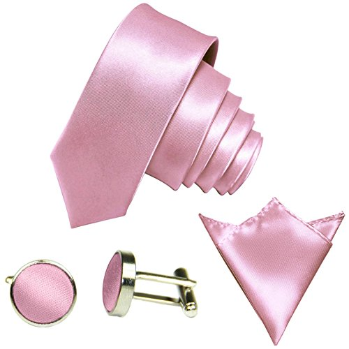 GASSANI 3-SET schmale 6cm Rosa Rose Herrenkrawatte Binder Manschettenknöpfe Einstecktuch Satin Seide-Optik Hochzeitskrawatte