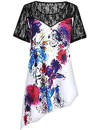 NEEKY Camiseta para Mujer Desigual - Panel de Encaje de Manga Corta para  Mujer Tie Dye fa5b76308e9
