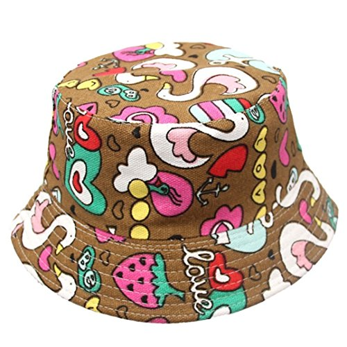 7 COLOR WINGS Kind Mädchen Baby Sommer Wannen Hüte Cap Sun Beach Beanie (F) (Blumen-reversible Hut)