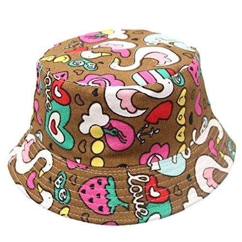 7 COLOR WINGS Kind Mädchen Baby Sommer Wannen Hüte Cap Sun Beach Beanie (F) (Hut Blumen-reversible)