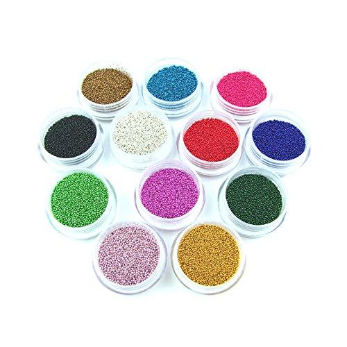 Beauty7 Nail Art 12 Couleurs Strass 3D Mini Perle Paillette Micro Caviar Pour Ongle Décoration Manucure