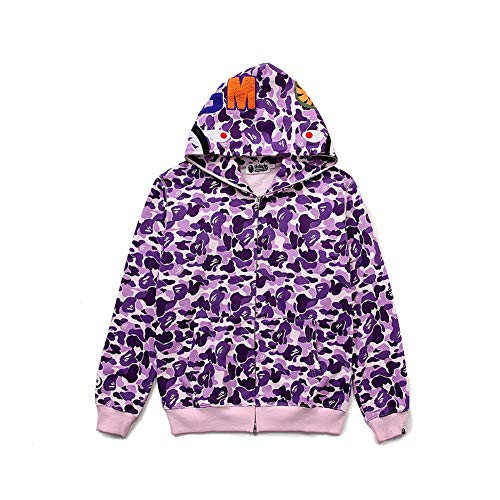 BAPE Cartoon Towel Embroidered Full Body Camouflage Men and Women Plush Sweater Eye Pattern Zip Hoodie -