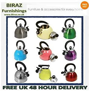 Brand New PRIMA Whistling Stainless Steel Traveling Kettle Fishing Caravan Home Gas 2.5 Litre Holiday Home (Custard Cream)