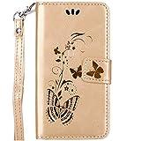 ISAKEN Galaxy Core Plus Hülle, PU Leder Geldbörse Wallet Case Ledertasche Handyhülle Tasche Schutzhülle mit Handschlaufe Strap für Samsung Galaxy Core Plus - Gold Schmetterling Gold