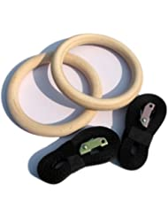 """""""Exercise Fitness Wooden Gym Gymnastic Rings Supports Such Exercises As Push-ups, Iron Cross, Dips, Pull-ups and more - White """""""
