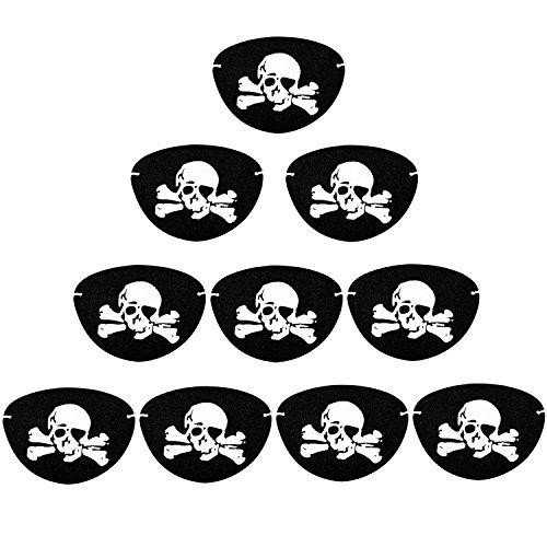 (Keriber 10 Stücke Piratenkapitän Augen Flicken Augenklappe Schwarz Kinder Party Zuneigung)