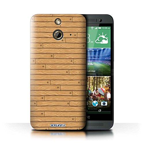 Kobalt® Imprimé Etui / Coque pour HTC One/1 E8 / Beige conception / Série Motif Bois Beige