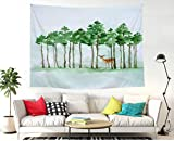 BAOQIN 60 * 80 Inches Unique Design Wonderful Prints Green Leaf Tree and Deer Wall Hanging Tapestry Bohemian Mandala Hippie Tapestries for Bedroom Living Room Dorm (Tree-1)
