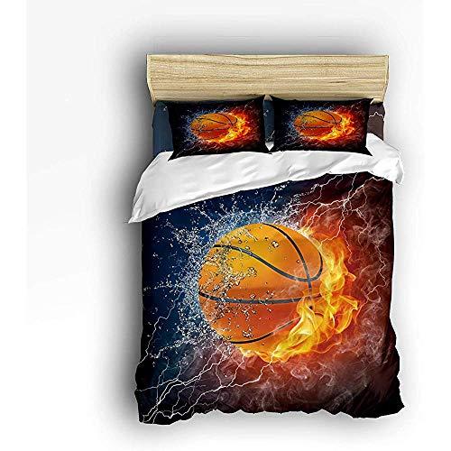 N/A 3-teiliges Bettwäscheset, Basketballkugel in Flammen und Wasser Bettbezugset Steppdecke für Kinder/Kinder/Jugendliche/Erwachsene in Queen-Size-Größe