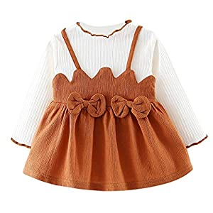 squarex Toddler Kids Baby Girls Bowknot Clothes Long Sleeve Party Princess Dancing Dresses