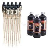 Topgoods 12 x Gartenfackel Bambusfackel 90cm mit 3 x 1 Liter geruchsloses Lampenöl hochgereinigt