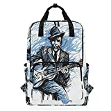 ZOMOY Sacs à Dos,Guitariste Guitariste Blues Man Expression,Nouveau Portable Occasionnel léger en Toile College School Travel Sac à bandoulière Camping Escalade Sacs de randonnée