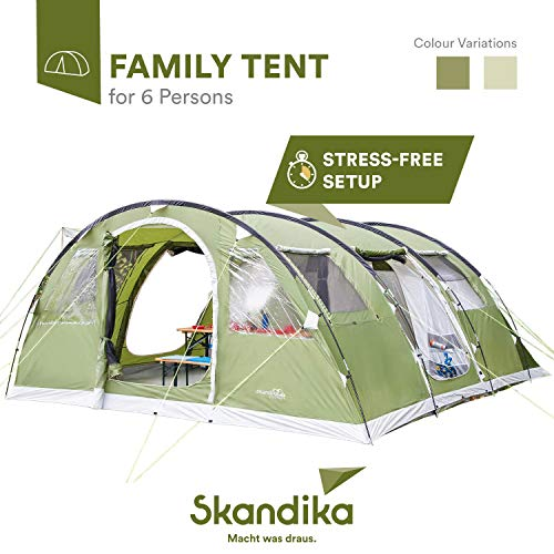 Skandika Gotland 6 Tenda Campeggio Famiglie Verde 540 x 450 cm Nuova