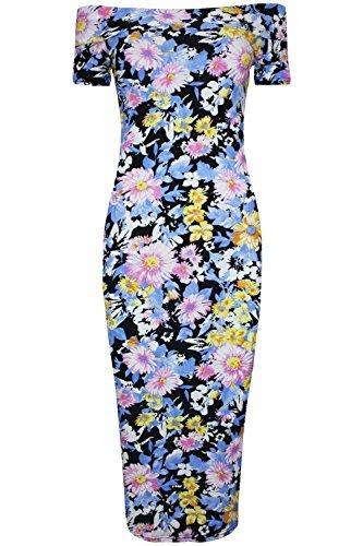 Womens Ladies Summer Floral Printed Bardot Off The Shoulder Bodycon Midi Dress