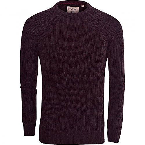 Brave Soul Mens High Quality 'Chunky Cable Knit' Jumper Pullover Winter Sweater Medium Plum