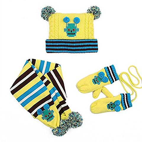 HTTMYY Boys Girls Knitted Hat Scarf And Glove Children 3