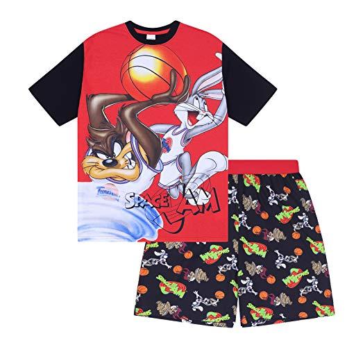Looney Tunes - Herren Schlafanzug - kurz - mit Space Jam, Taz, Daffy Duck oder Elmer Fudd - Offizielles Merchandise - Rot - Space Jam - XXL
