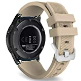 MoKo Gear S3 Frontier Smartwatch Bracelet en Silicone souple pour Samsung Galaxy Gear S3 Frontier   S3 Classic   Moto 360 2nd Gen 46mm Smart Watch, Pas compatible avec S2,S2 Classic,Fit2, Noyer
