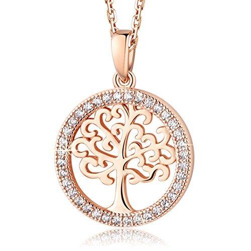 MEGA CREATIVE JEWELRY Damen Kette Rotgold Lebensbaum aus 925 Sterling Silber mit Kristallen von Swarovski
