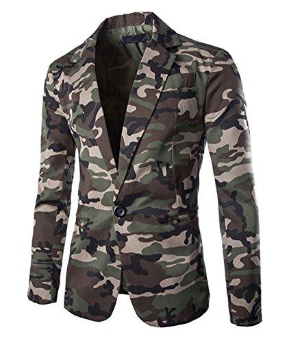 Herren Sakko Blazer Freizeit Slim fit Jacket tarnung Jacke Anzugsjacke Armee-Grün L