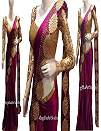 Sunshine Fashion Women's Paper Silk Saree With Blouse Piece (Sunsa675-Fb,Purple,Free Size)