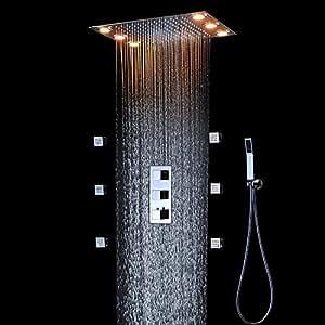 bad dusche set zubeh r wasserhahn panel klopfen thermostat mixer led decke dusche kopf. Black Bedroom Furniture Sets. Home Design Ideas