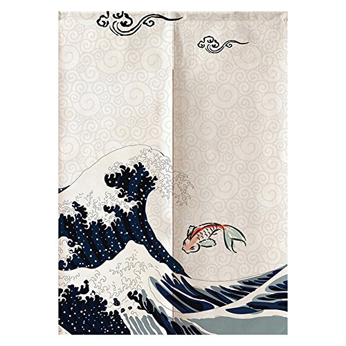 Japanische Noren Türvorhang Große Welle Kanagawa Ukiyoe Noren Vorhang Koi Fisch Sakura Traditionelle Raumteiler Trennwand Vorhang Tapisserie Tür Hängen PATTERN2 32 * 47in (Noren Koi)