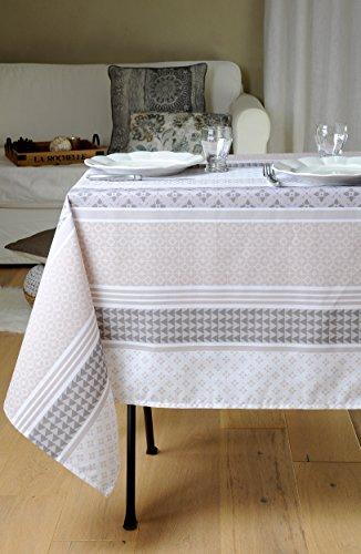 Stof - Nappe enduite rectangulaire SOCCOA - 100% Coton - Naturel - 155x250 cm