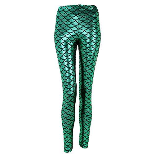 Ayliss® Damen Mädchen Leggings Leggins Mermaid Meerjungfrau Fisch Schuppen Tattoo Print Metallic Punk Glänzend Elastisch Strumpfhose Hüfthose Hose (EU 40-42, Grün)