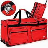 Deuba XXL Reisetasche ✔mit Trolleyfunktion ✔Rollen mit Kugellager ✔Teleskopgriff ✔abschließbar 160 Liter in Rot Sporttasche Reisetrolley Gepäcktasche