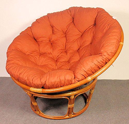 Rattan Papasan Sessel inkl. hochwertigen Polster , D 110 cm , Fb. cognac . Pad Lachsfarben . - 2