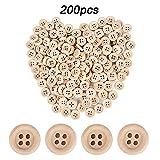 JNCH 200pz Bottoni Legno Naturale Decorativi Decorazione Cucito Scrapbooking Fai da Te con 4 Fori (200pz 13mm)