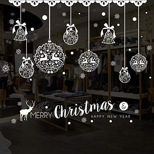 SUN-YUANYI 2020 Navidad Adhesivos para ventanas Nieve Feliz Navidad Adornos para EL hogar Adhesivos para escaparates Adhesivos decorativos a prueba de agua