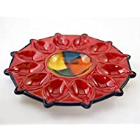 Plato huevos 27cm , para 12 unidades y un hueco en el centro . Plato de cerámica, pintado a mano
