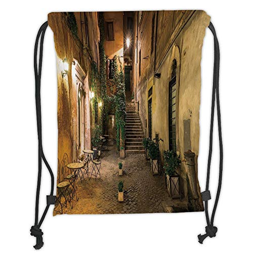 Fashion Printed Drawstring Backpacks Bags,Italian Decor,Old Courtyard in Rome Italy Cafe Chairs City Ambience Houses Street Decorative,Orange Brown Green Soft Satin,5 Liter Capacity,Adjustable Str -