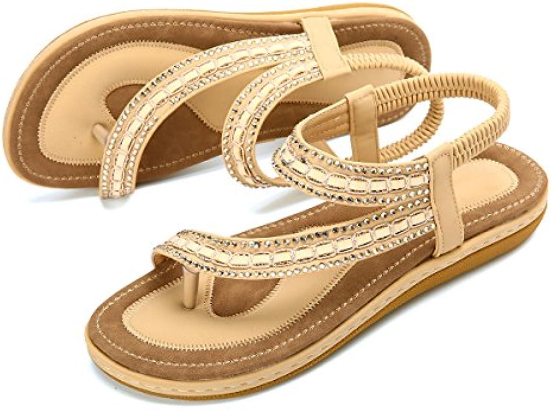 a36d57027a88 gracosy Women s Flat Sandals Flip nhta-28370 Summer Beach Shoes Bohemian  Rhinestone Vacation... Flip Flops Clip Toe Outdoor Casual Vacation.