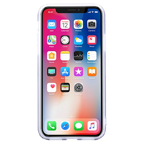 WE LOVE CASE iPhone X Hülle Marmor Weiß iPhone X / 10 Hülle Silikon Weich Marble Handyhülle Tasche für Mädchen Elegant Backcover , Soft TPU Flexibel Case Handycover Stoßfest Bumper , Ultra Dünn Schale Black