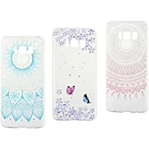 3 Pack Coque Samsung Galaxy 8 Silicone Cas Case, Rosa Schleife Galaxy S8 G950 Souple TPU Silicone Gel Portble Telephone Transparent Housse étui de Protection Ultra Mince Slim Back Shell Bumper Arriere Case Coque