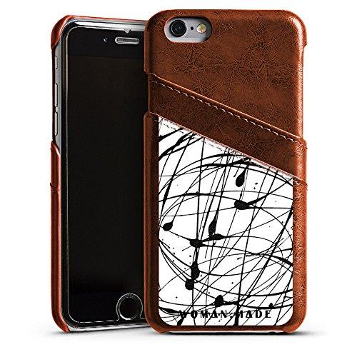Apple iPhone 5s Housse Étui Protection Coque Dessin Couleur Noir Étui en cuir marron