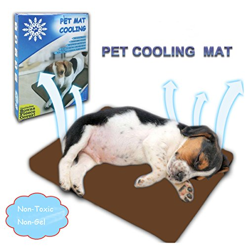 Qiu's home raffreddamento tappetino per cane gatto cuccia estivo (40 x 30 cm) (marrone)