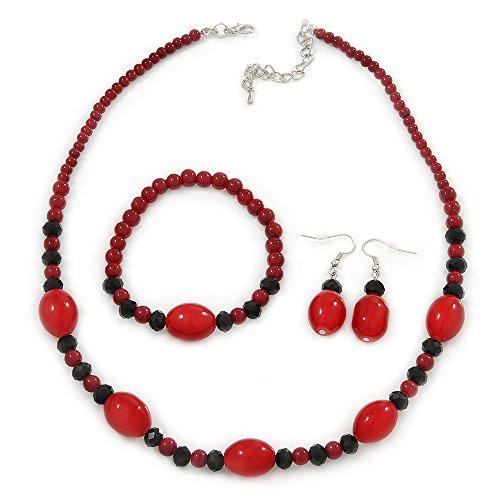 hot-red-black-ceramic-glass-bead-necklace-flex-bracelet-drop-earrings-set-in-silver-tone-42cm-l-4cm-