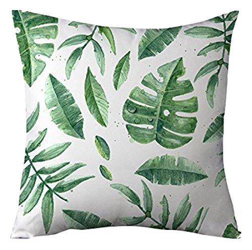 Bobopai Green Banana Leaves Decorative Cushion Cover Case for Sofa Square White Throw Pillow Covers for Living Room 45 x 45 cm (Pattern 4) (18 Bike-motoren-kit)